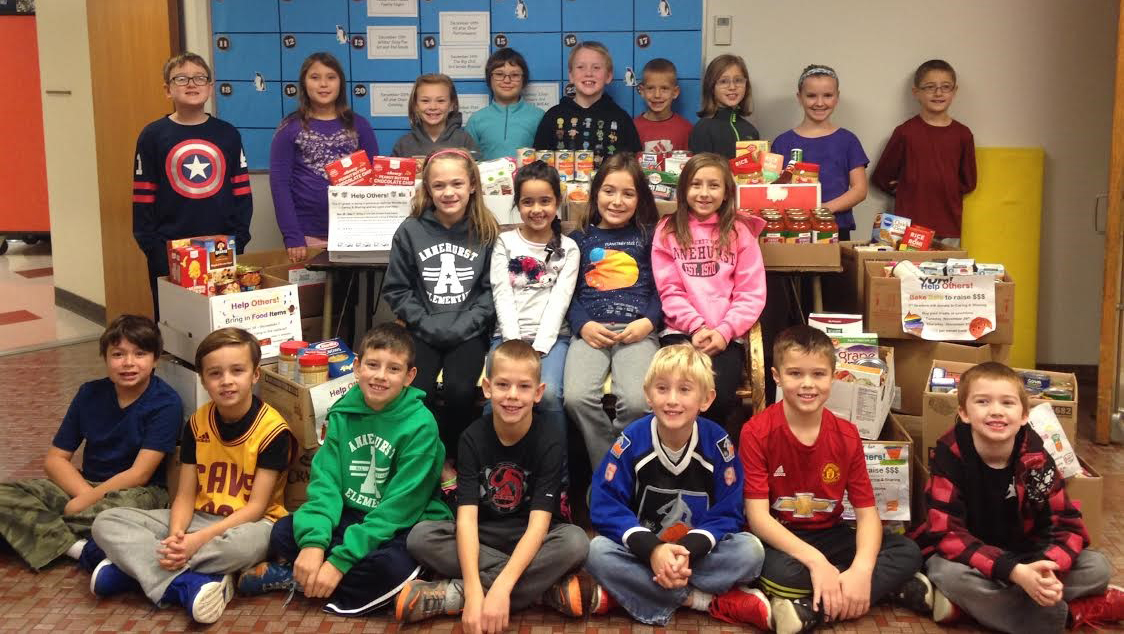 Annehurst students pictured with donated items