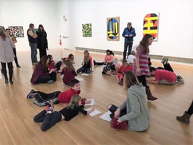 McVay Art Academy students complete an activity at the Wexner Center for the Arts.