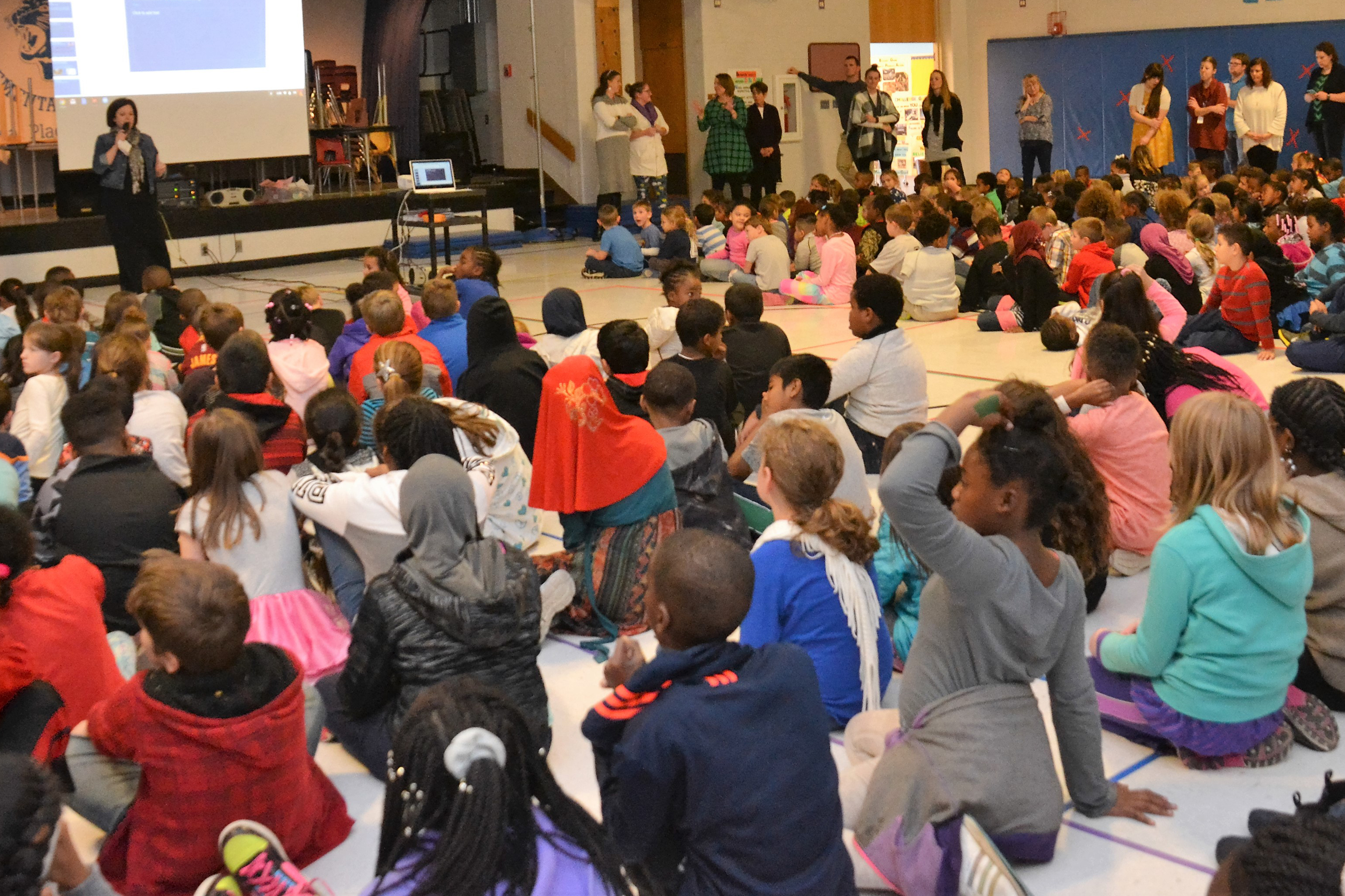 Principal Sherry Birchem addressed Pointview students in the gym during the Leadership Teams pep rally.