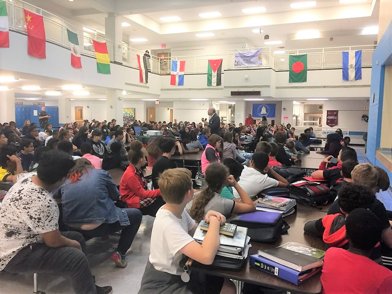 Students listen intently as Stephen Smith offers tips about cyber safety.