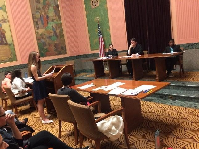A Blendon Middle School student argues a case at the Middle School Mock Trial Competition