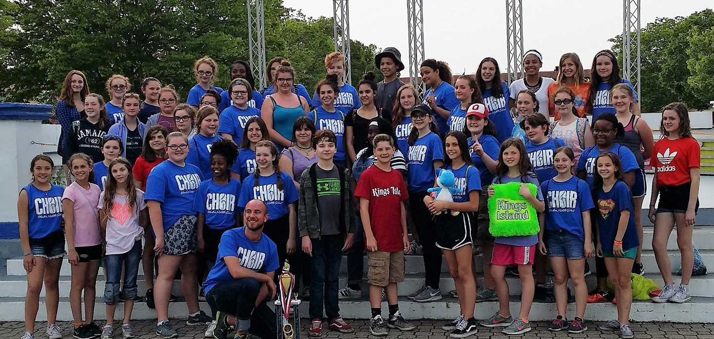 "Blendon Middle School Choir at Kings Island ""Music in the Parks"" competition."