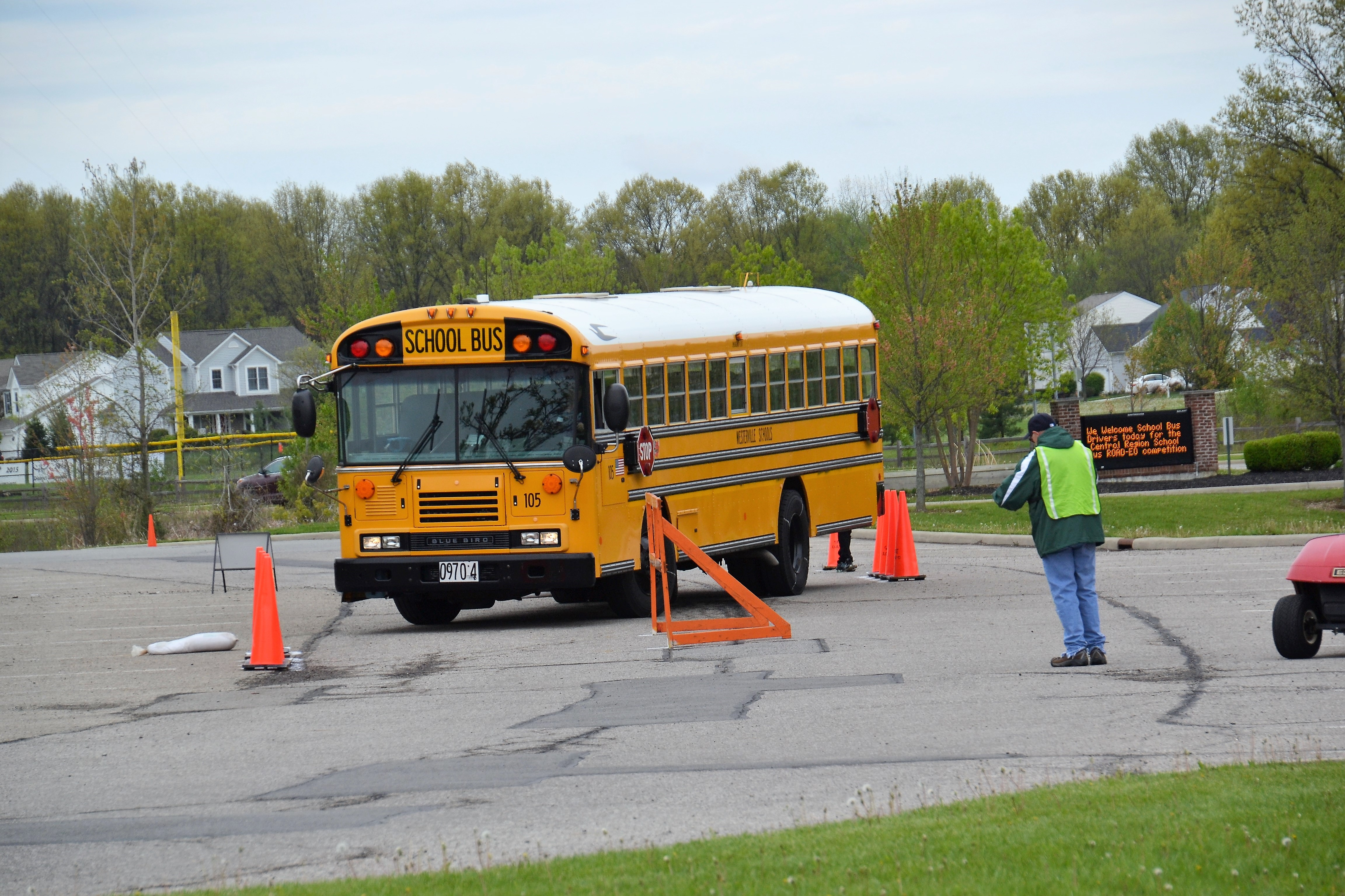 Westerville school bus maneuvered through an obstacle course