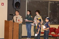Scout representatives thank the Board of Education for its support of promoting values in children.