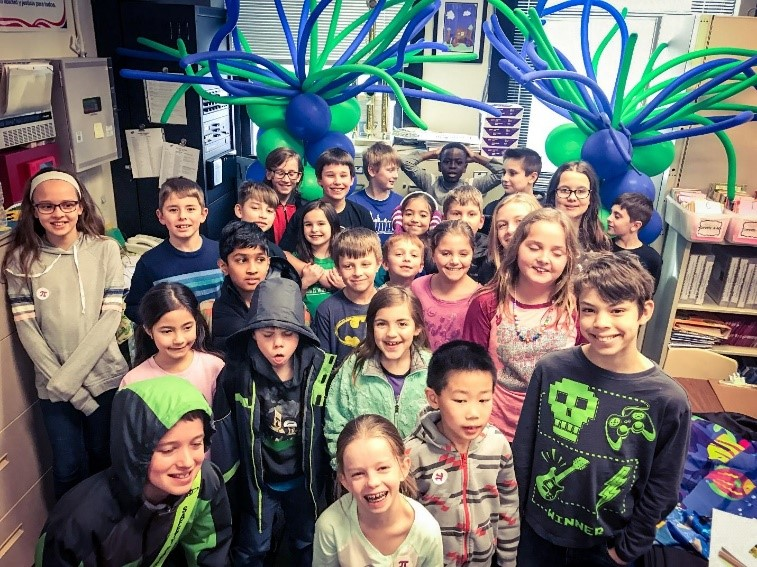 Group shot of Emerson's Pi Day contest participants.