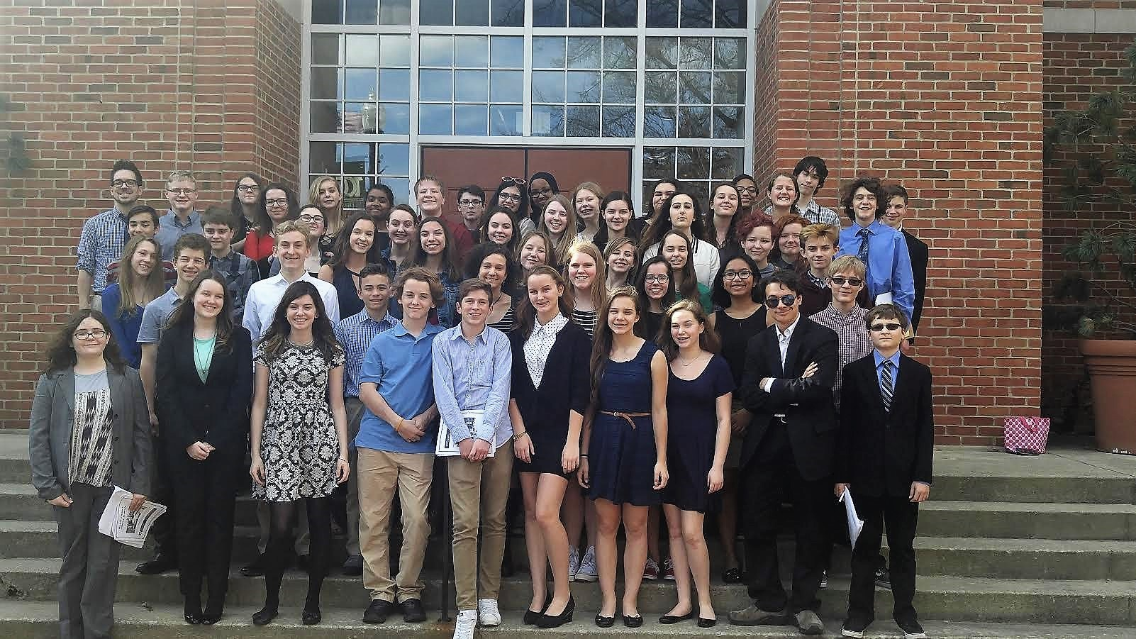 Picuter of Westerville's Middle School Mock Trial team photographed outside of Columbus City Council chambers