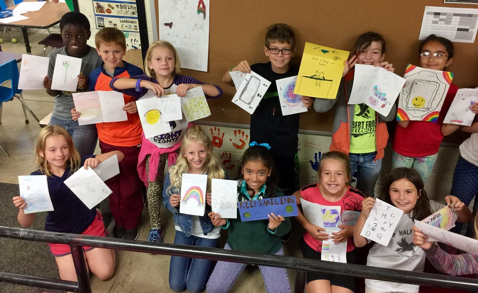 Emerson students display cards they made
