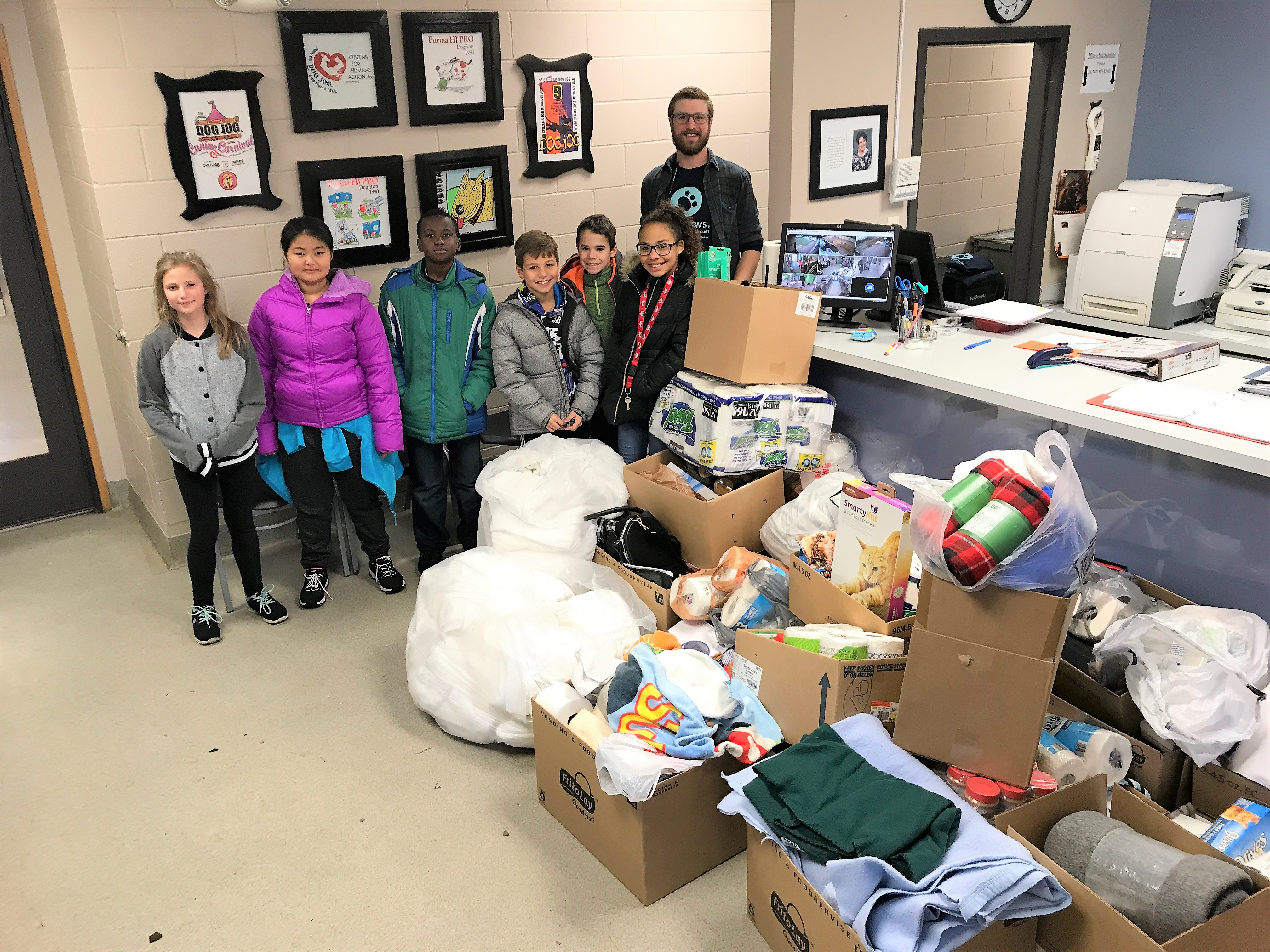 Hawthorne Student Council members delivered a massive donation to the CHA animal shelter.