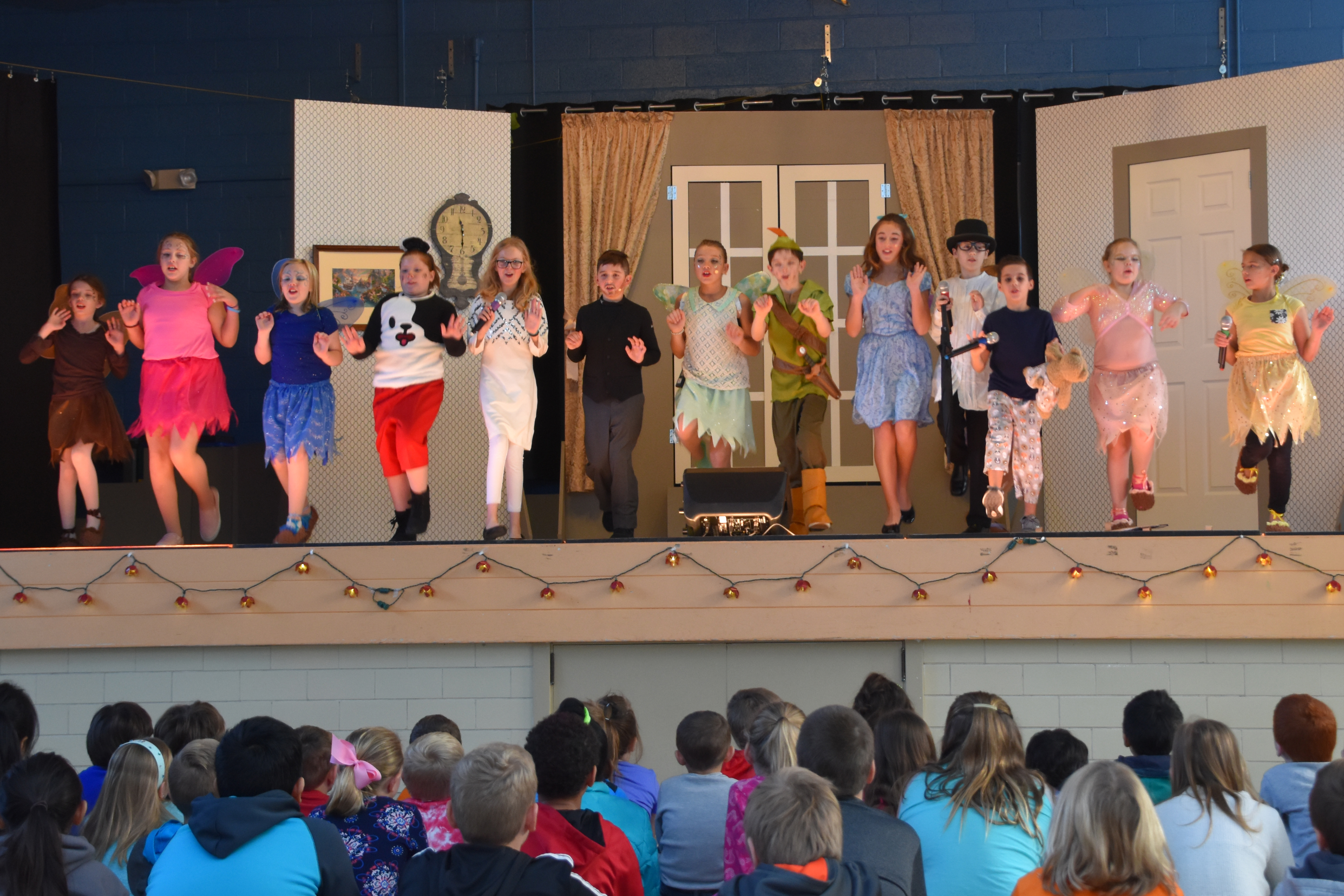 Students performing Peter Pan Jr.