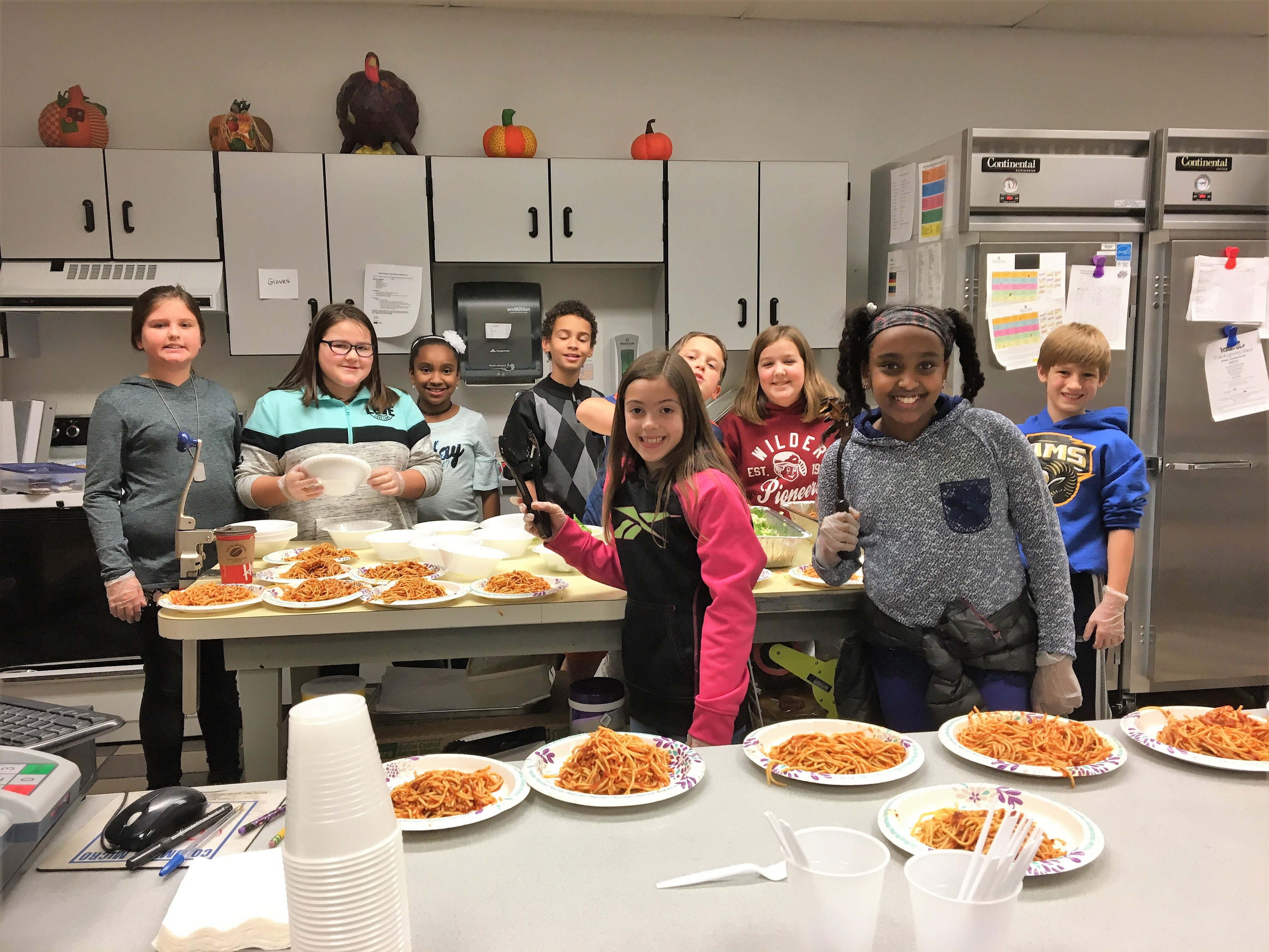 Wilder's K-kids served spaghetti dinners to veterans.
