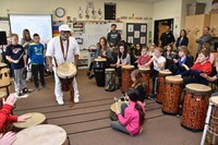 Tony and Aziza West captivated Alcott students with their drumming and dancing, intended to encourage cultural awareness, especially of the West African culture.
