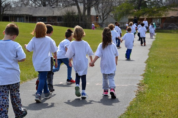Huber Ridge students participated in a walk-a-thon to raise money for their school.