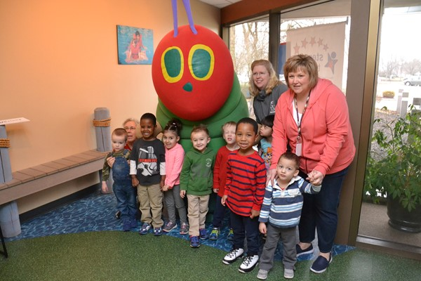 The Very Hungry Caterpillar stopped by to visit with preschool students.