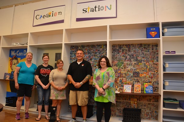 A Creation Station was dedicated at Hawthorne Elementary School.