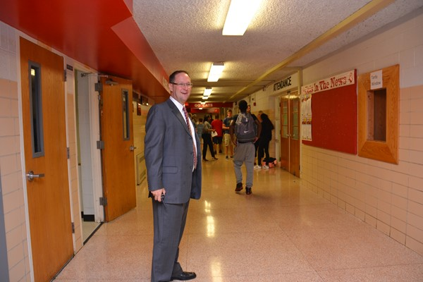 New Westerville South High School Principal Mike Starner welcomes students.