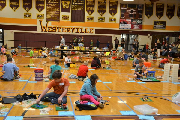 Students compete in the annual Westerville City Schools LEGO contest.