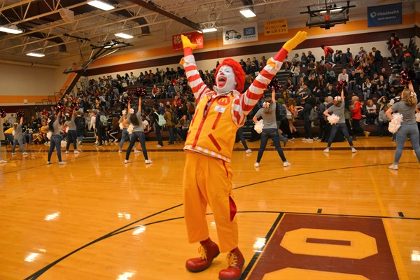 Ronald McDonald celebrated as North won the High School Team Challenge.