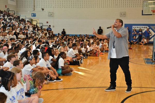 Motivational speaker Moses Garcia addressed Heritage students on PRIDE Day.