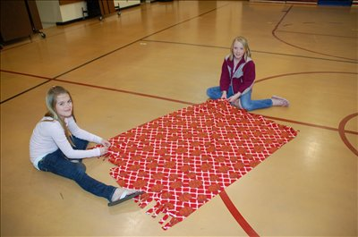 On March 31, Robert Frost Student Council members teamed up with the organization My Very Own Blanket to make blankets for children in Foster Care.