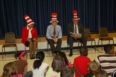 Pat Frost-Brooks, president of the Ohio Education Association, Richard Cordray, Ohio Attorney General, and Jim Timlin, secretary/treasurer of the OEA read to students at Annehurst Elementary in observance of Read Across America.