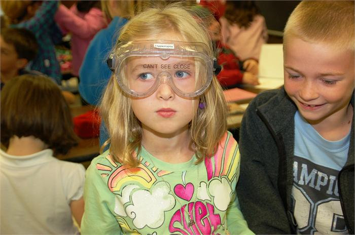 "Robert Frost second graders participated in hands-on activities during an assembly called ""Wise About Eyes Exhibits-To-Go."