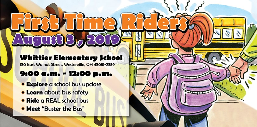 First Time Riders open house at Whittier Elementary School from 9:00 a.m. to noon on Saturday, August 3, 2019.