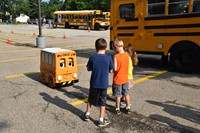 Buster the Bus interacting with kids